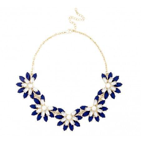 Short Floral Necklace in cobalt