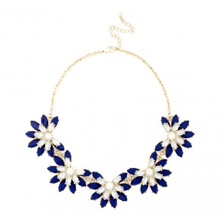 Short Floral Necklace in cobalt