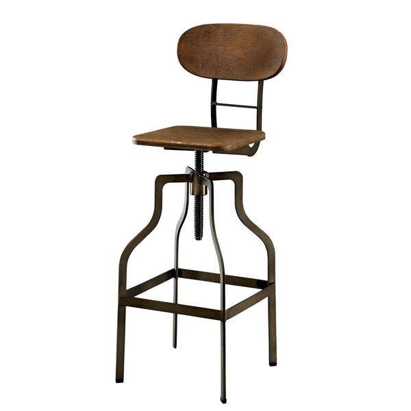 Furniture Of America Damien Industrial Swivel Bar Chair By Furniture Of  America