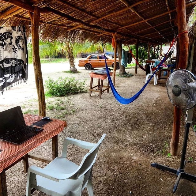 "A man is nothing without his work...! This is my improvised work station at Cabãnas Pepe in Barra de La Cruz. No Wi-Fi no 4G controlled power usage... but can you see my private ""aircon"" unit? :) #mexico #barradelacruz"