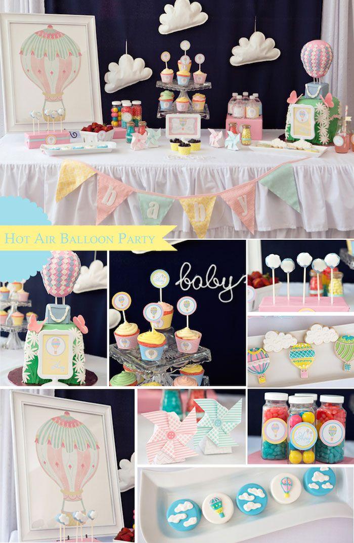 Hot Air Balloon themed baby shower via Kara's Party Ideas KarasPartyIdeas.com Cake, cupcakes, printables, supplies, favors, recipes, and mor...