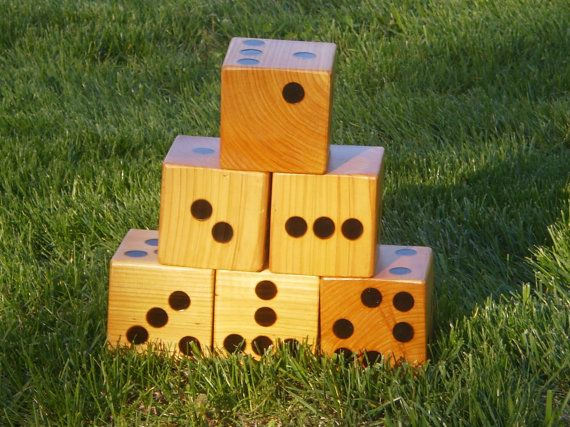 6 Large Crazy Yard Dice-  Hand Crafted - Yard Games with storage bag - Family Fun on Etsy, $55.00