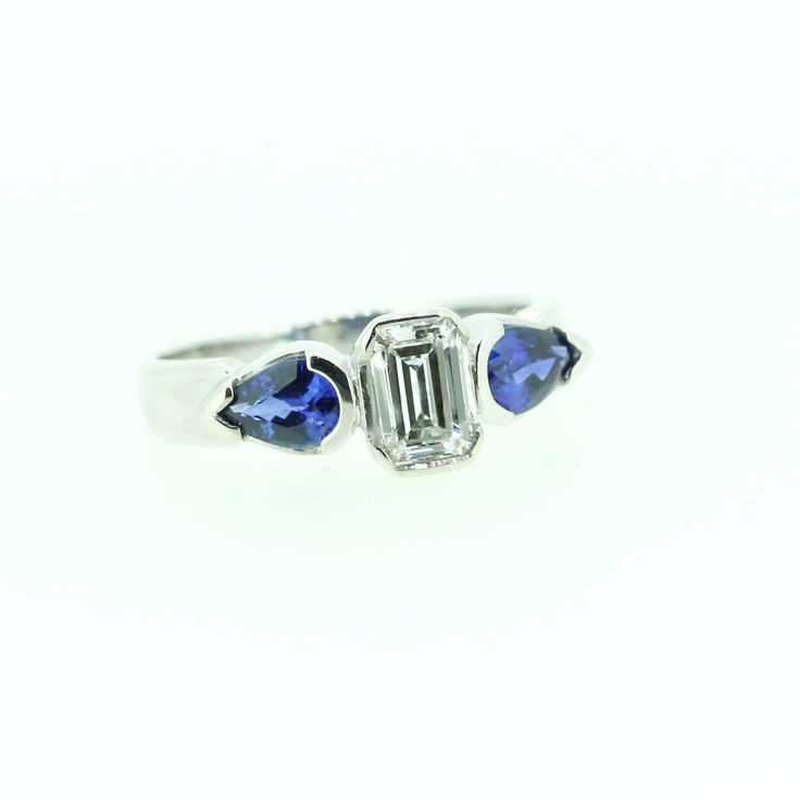 Sapphire and diamond ring, designed and made in store at Clayfield Jewellery in Nundah Village, North Brisbane.