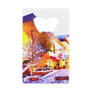 横川駅の横のショッピングモールのカジルモールにて雪景色☆ クレジットカード 栓抜き