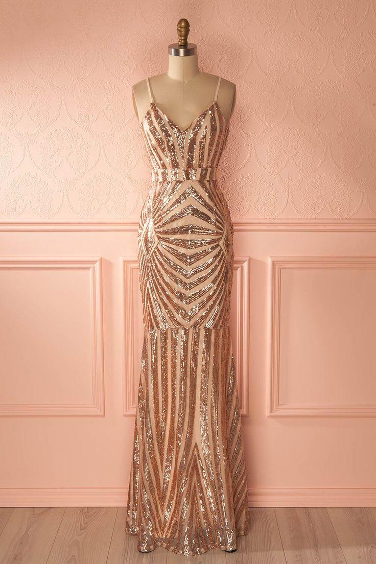 Robe de soirée sirène rose doré à paillettes - Gold rose sequins mermaid gown