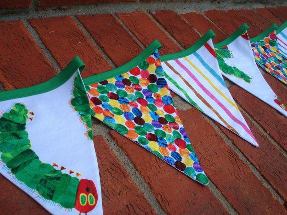 bunting: Caterpillar Fabric, Fabric Bunting, 1St Birthday, Hungry Caterpillar, Buntings Banners Garlands, Party Ideas, Bunting Banner, Birthday Party