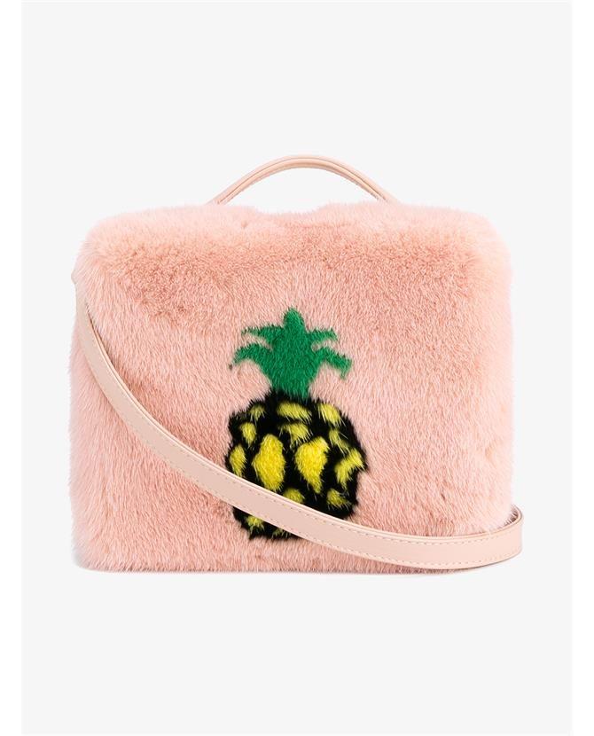 Pineapple Mink Fur Shoulder Bag