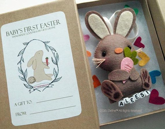 146 best felt spring crafts images on pinterest easter easter babys first easter bunny personalized gift ornament limited edition unique easter bunny gift negle Image collections