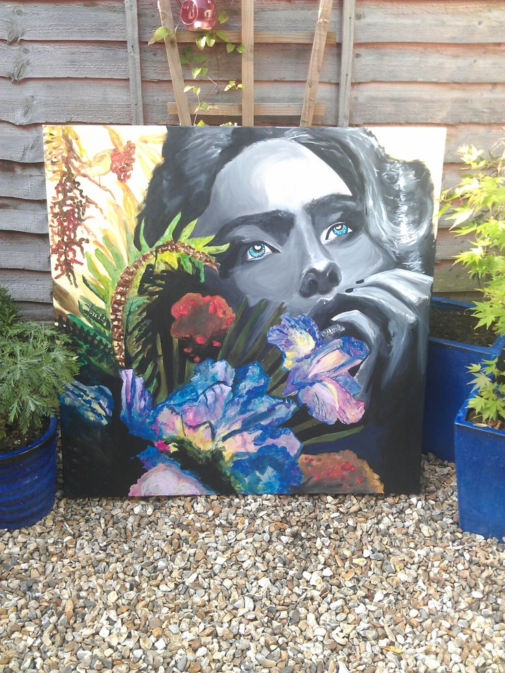 'All my thoughts' Acrylic on canvas, by artist Charlotte- Louise. £300.