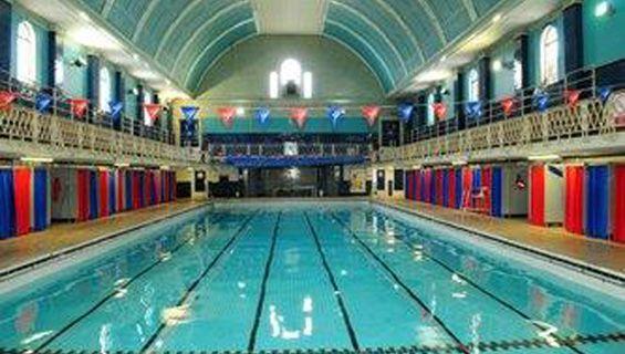 Bristol South Swimming Pool   BBC Sherlock   Sherlockology. Where Watson has a bomb strapped to him.