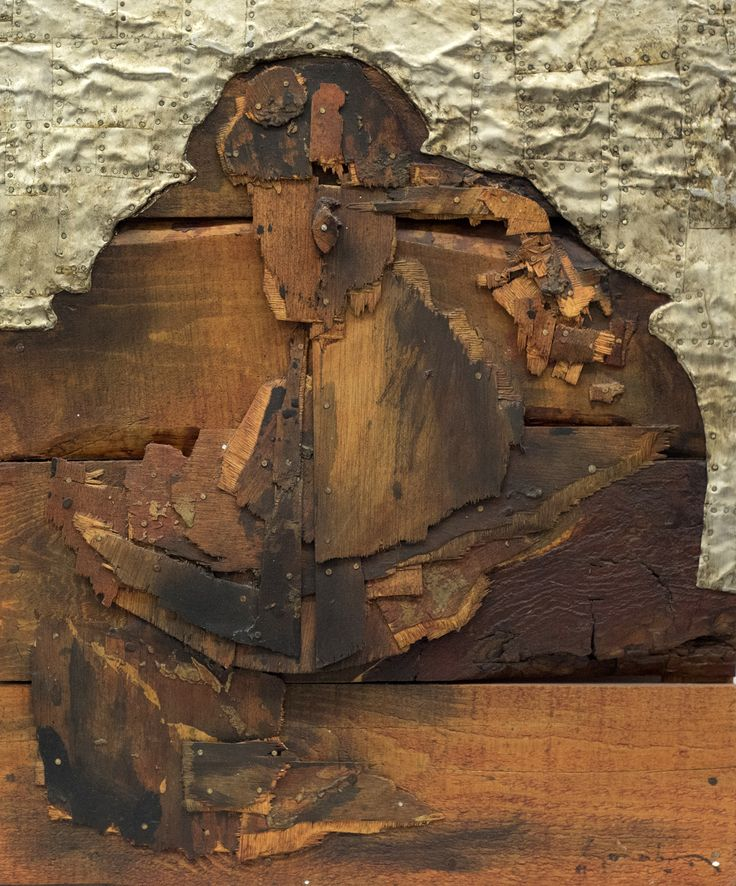 "Picture: ""Menina wood 3"". Dimensions: 48 cm (W) x 58 cm (H). Collage: wood and tin, supported on wood"