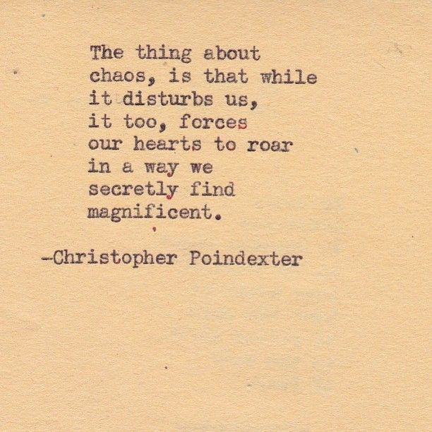 The thing about chaos, is that while it disturbs us, it too, forces our hearts to roar in a way we secretly find magnificent.