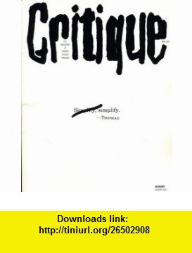 Critique The Magazine Of Graphic Design Thinking No.14; Winter 2000 Marty Neumeier ,   ,  , ASIN: B000KGX6LE , tutorials , pdf , ebook , torrent , downloads , rapidshare , filesonic , hotfile , megaupload , fileserve