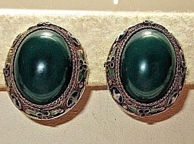 Vintage Estate Goldtone Green Stone Cross Erfly Celtic Look Clip On Earrings