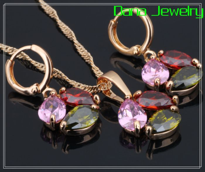 Pear shape Multicolor CZ stones Cluster jewelry Sets Pendants/Earring 18K Yellow Gold Plated S068 $8.60