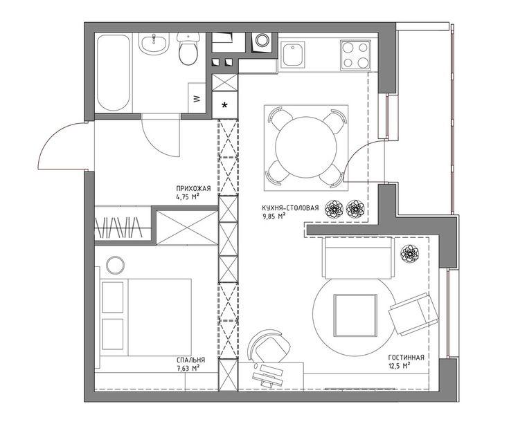 Квадратная квартира 44 кв.м.