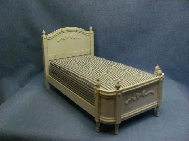 Dollhouse Miniature Furniture - Tutorials - Sabby Chic Card Stock Bed with No-Sew Mattress Tutorial -- How to make a bed using card stock and making a mattress with no sewing.