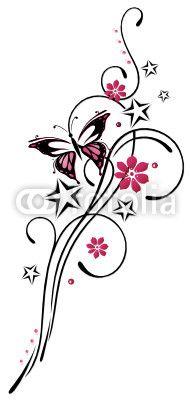 Vektor: Tattoo, Blumen, Blüten, Schmetterling, pink, rosa
