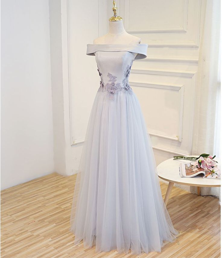 Gray A line off shoulder long prom dress, lace evening dress, of girl dresses from of girl