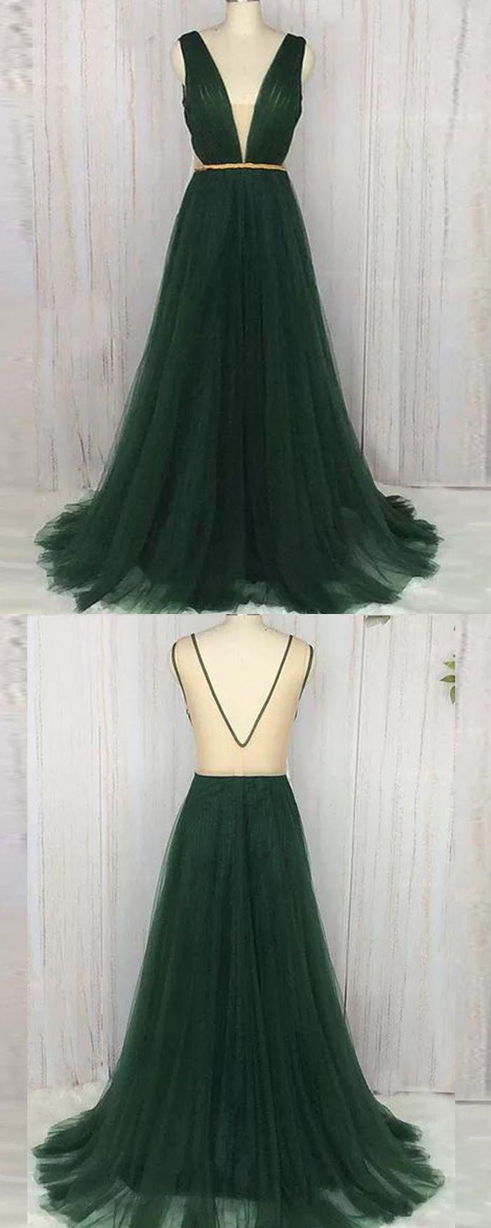 Deep vneck ruched dark green tulle long formal dress pm in