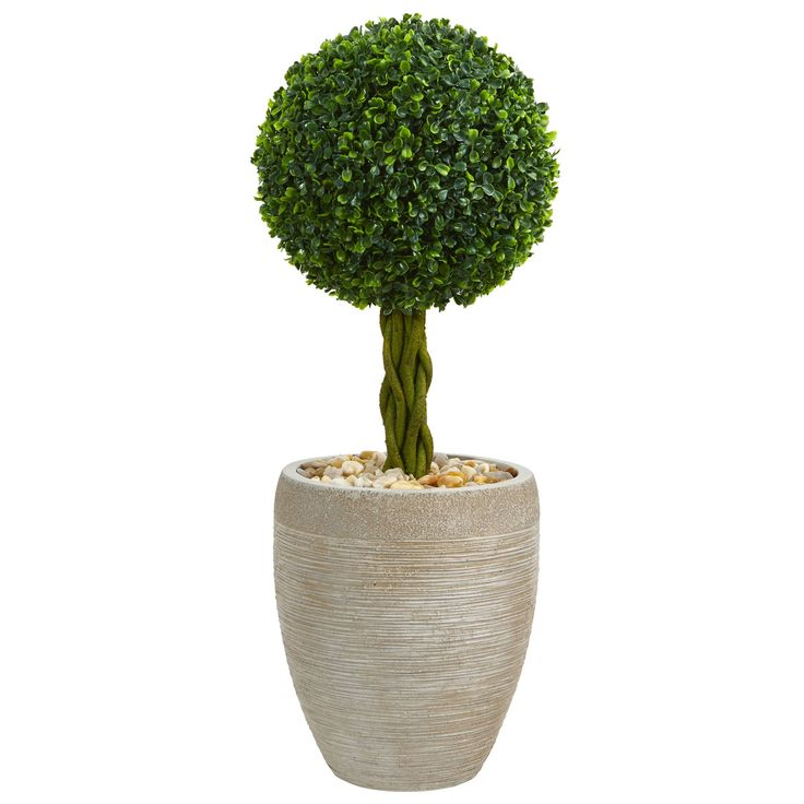 Nearly 2.5' Boxwood Ball Topiary Artificial Tree in Sand Colored Oval Planter UV Resistant