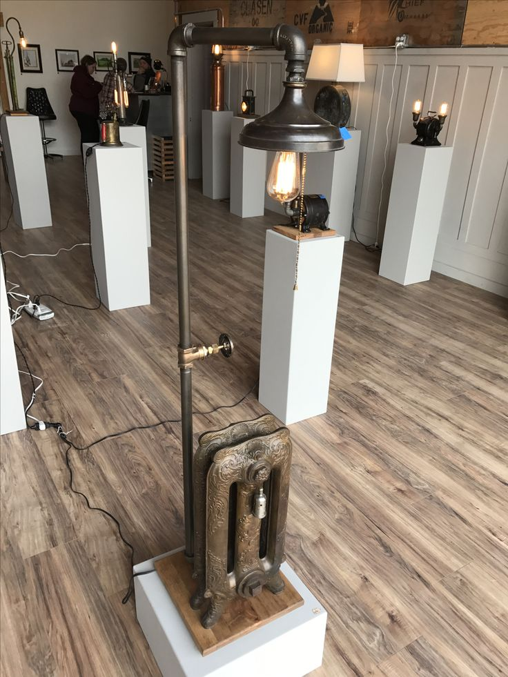 Hotel steam radiator base for floor lamp