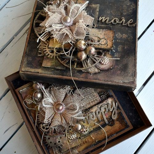 a mixed media card in a box by GD Katja Joulak- Mezzanotte for 13arts