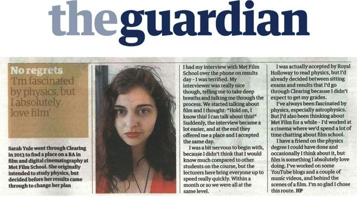 Student profile featured in The Guardian Clearing supplement, 13 August 2015