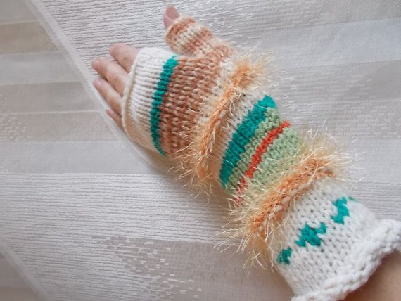 Knit Fingerless Gloves gift for her warm gloves knitted