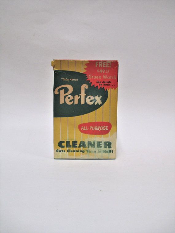 Vintage Tidy House Perfex Cleaner, Small 12 ounce Box, All Purpose Opened Advertising  Collectible, Laundry Room Display