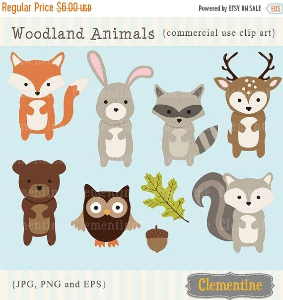 80% OFF SALE Woodland Animals clip art by ClementineDigitals