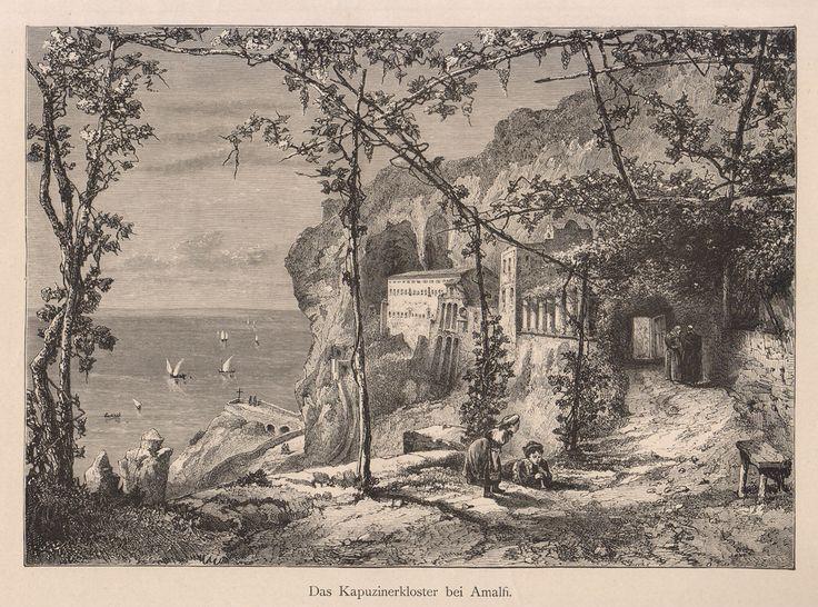 Das Kapuzinerkloster bei Amalfi, incisione xilografica su legno di testa; mm.240x160, su foglio mm.360x270, tratta da Neapel und seine Umgebung di Rudolf Kleinpaul, Leipzig, 1884