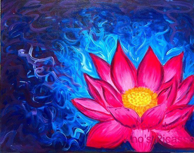 Acrylic Canvas - Lotus - Vino's Picasso