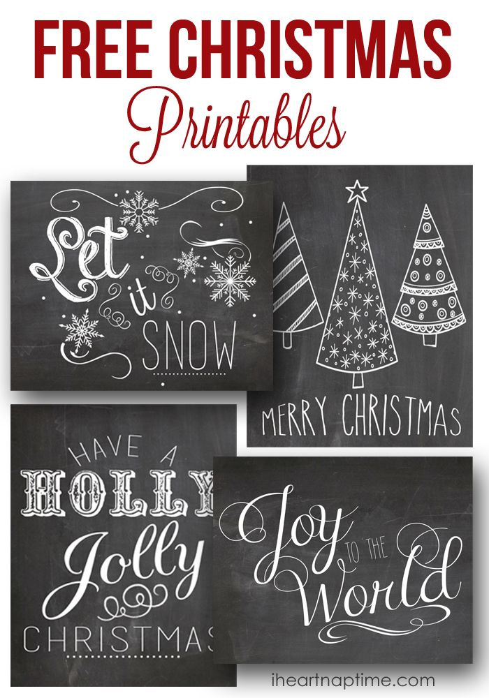 Free Chalkboard Chrstmas Printables | I Heart Nap Time