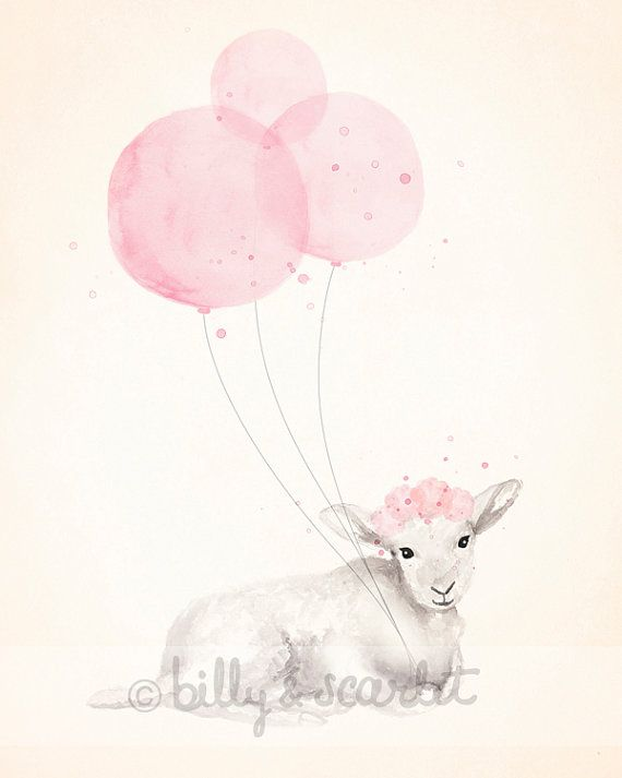 8x10 Print Baby Girl Nursery, Light Pink Shabby Chic Nursery Decor, Watercolour Illustration of Little Lamb and Balloons // Billy  Scarlet
