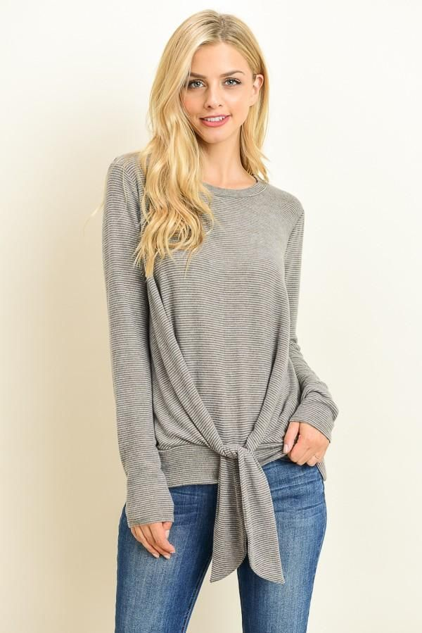Grey Tie Detail Long Sleeve Top Perfect for the warm weather ahead! go get yours at -----> avezdo