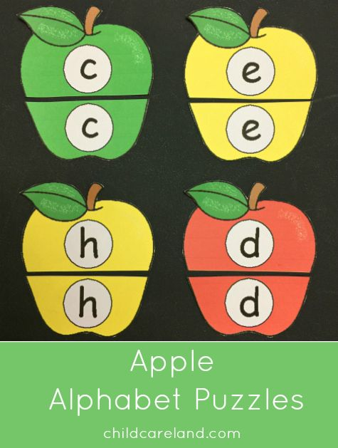 Apple alphabet puzzles for preschool and kindergarten