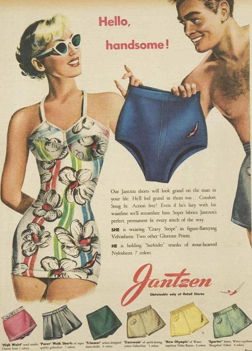 Jantzen Swimwear for Men vintage bathing suit ad, 1950 vintage print ad 50s swimsuit bathing suit one piece floral white red blue women