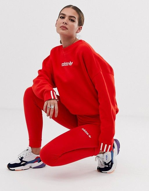 03bd38deed5 adidas Originals Coeeze fleece sweatshirt in red in 2019 | Style ...