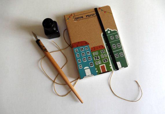 Notebook medium Old Town handmade por PaulaHurtadoIlustra en Etsy  #etsy #notebook #illustration #oldtown