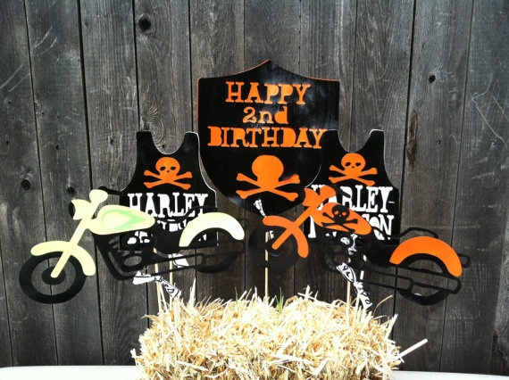 Harley Davidson Birthday Centerpiece Set Of 5 With Bandana