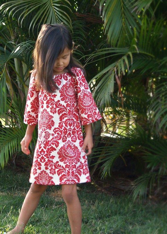 Girls Red White Damask Dress Tunic Handmade by HotLavaClothing