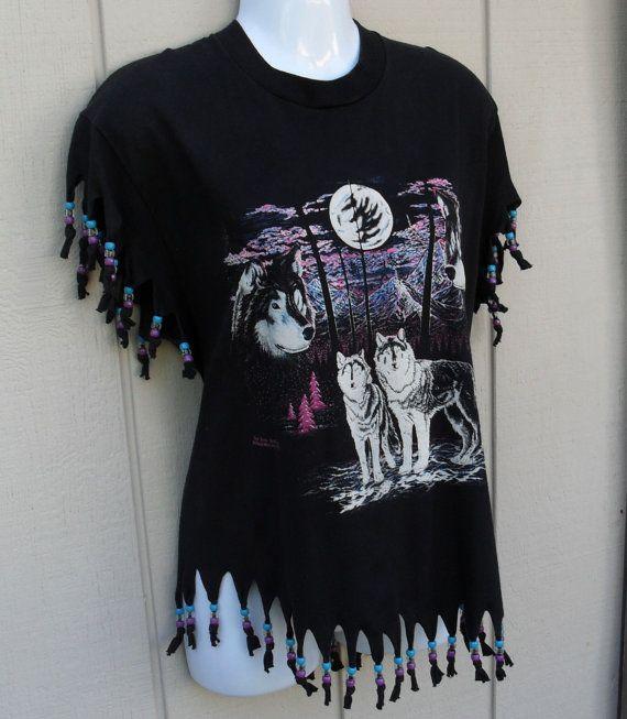 Fringe Beaded T-Shirt | 90's beaded FRINGE Wolf print Black t shirt / Two wolves by Belinda ...
