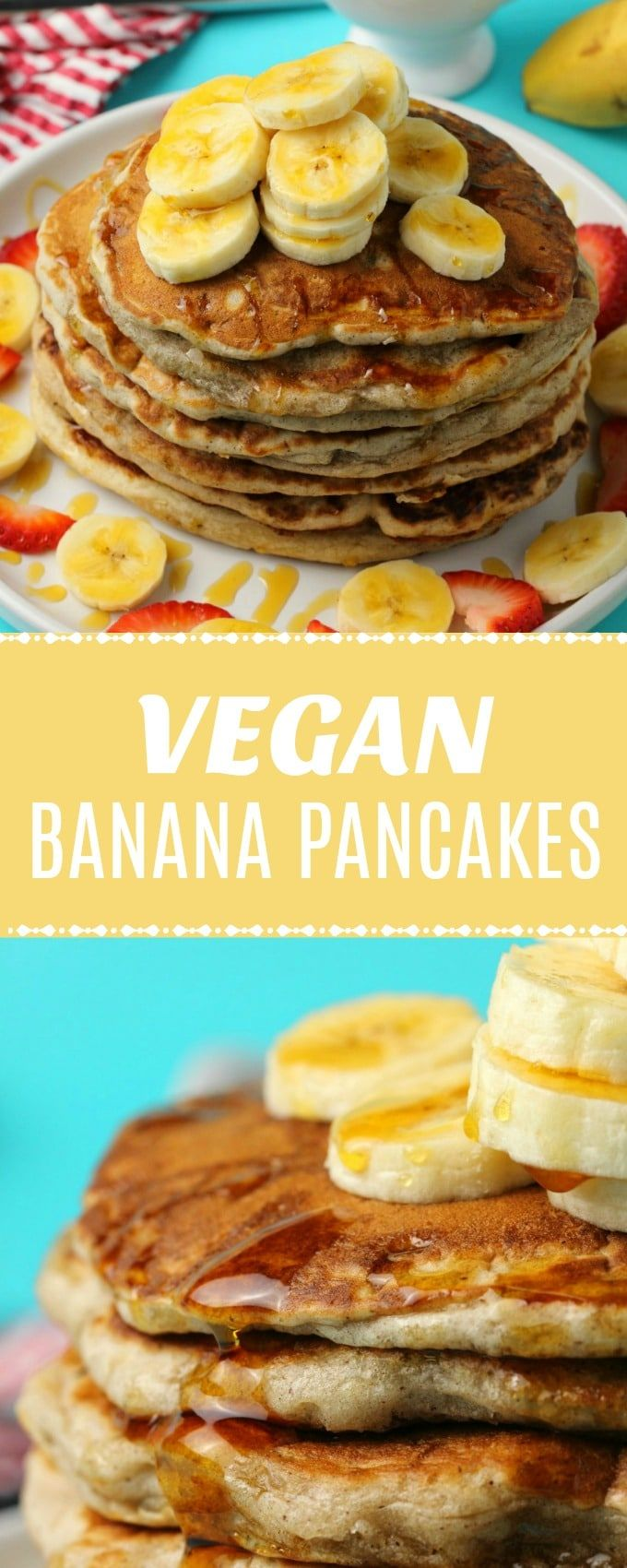 Easy vegan banana pancakes! Perfect for a delicious vegan breakfast topped with …