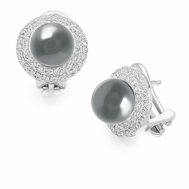 Grey Tahitian Pearl and Diamond 18k White Gold Stud Earrings www.vashi.com £2,119