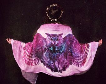 Wing scarf Feather scarf shawl Bohemian by ScarvesChrissyInk