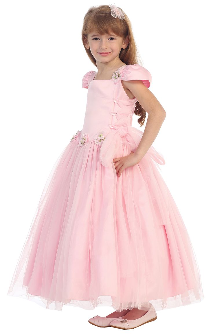 Girls Dress Style 0342 - Cap Sleeve Satin and Organza Dress with Corset Sides in Choice of Color  This regal dress is one that will capture the eyes and hearts of all those who watch your little angel enter the room. The satin bodice features adorable puff sleeves and dainty floral accents. The organza skirt is super full and festive.  http://www.flowergirldressforless.com/mm5/merchant.mvc?Screen=PROD&Product_Code=CB_0342BL&Store_Code=Flower-Girl&Category_Code=New