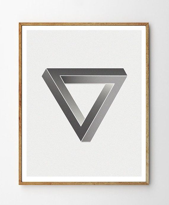Penrose Triangle Printable Art - Instant Download. Scandinavian Style Modern Geometry Poster. Triangle Poster. Impossible Triangle Print.