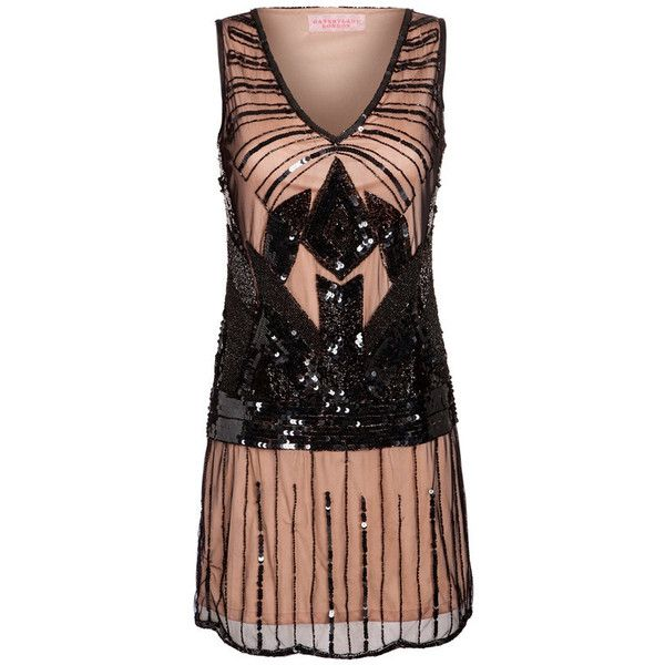 US20 UK24 AUS24 EU52 Black Nude plus size Dress Vintage inspired 20s... ($79) ❤ liked on Polyvore featuring dresses, plus size dresses, sequin dresses, plus size gatsby dress, plus size flapper dress and v neck cocktail dress
