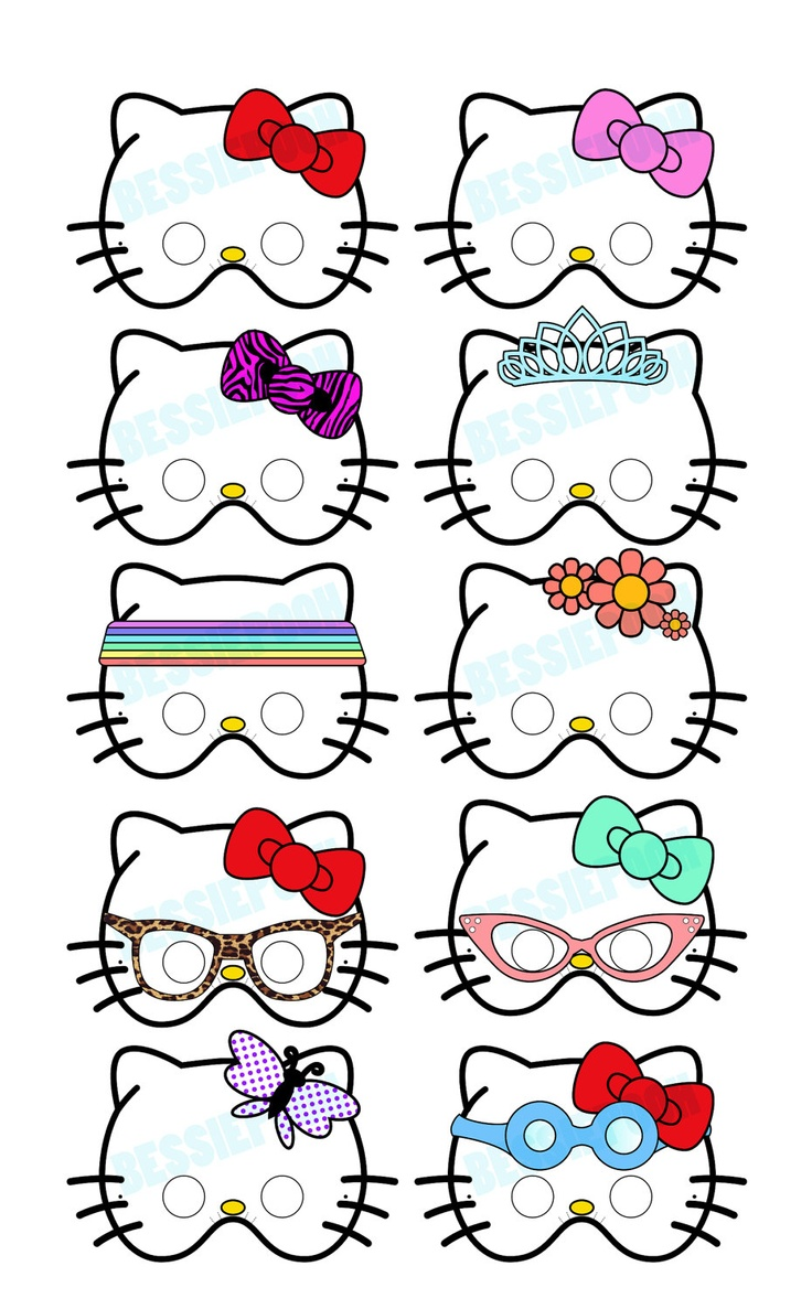 HELLO KITTY PARTY Printable Mask Collection. Includes all 10 masks. Photo booth prop. Party favors.. $12.00, via Etsy.